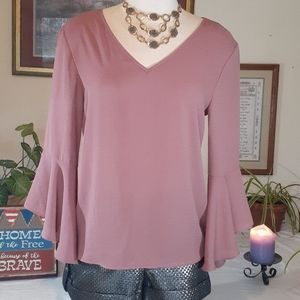 Blush pink bell sleeve top, A. Byer, Med
